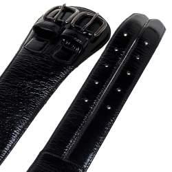 حزام اوسكار دي لا رينتا إبزيم مزدوج جلد لامع أسود مقاس وسط (ميديوم)