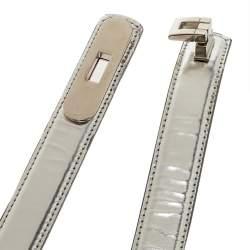 Oscar de la Renta Silver Glossy Leather Narrow Belt 70CM