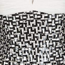 Oscar De La Renta Off White Basket Weave Embellished Ruched Silk Gown S