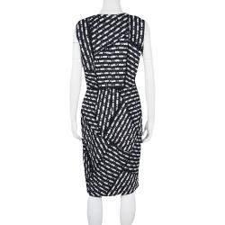 Oscar De La Renta Multicolor Textured Patch Detail Sleeveless Dress M