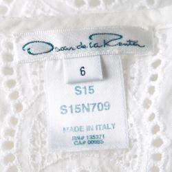 Oscar De La Renta White Broderie Anglaise Long Sleeve Blouse M