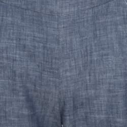 Oscar de la Renta Blue Cotton High Waisted Wide Leg Trousers M