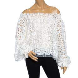 Oscar De La Renta White Lace Smocked Off shoulder Top S