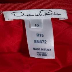Oscar de la Renta Red Silk Faille Flared Maxi Skirt L