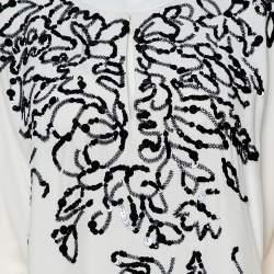 Oscar de la Renta Cream Silk Sequin Embellished Belted Kaftan M