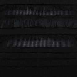 Oscar de la Renta Black Silk Knit Ruffle Trim Detail Sheath Dress XL