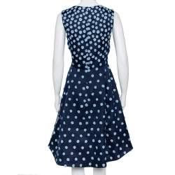 Oscar de la Renta Navy Blue Silk Floral Applique Detail Sleeveless Hi-Low Dress L