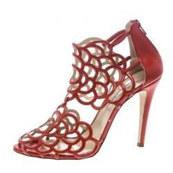 Oscar de la Renta Orange Leather Gladia Cutout Sandals Size 41.5