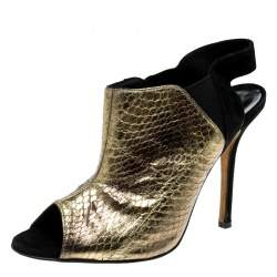Oscar de la Renta Metallic Gold Embossed Elaphe Leather Penelope Peep Toe Sandals Size 39