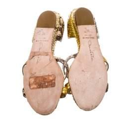 Oscar De La Renta Yellow Python Flat Sandals Size 36