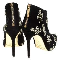 Oscar de la Renta Black Floral Embroidered Suede Elkin Booties Size 37