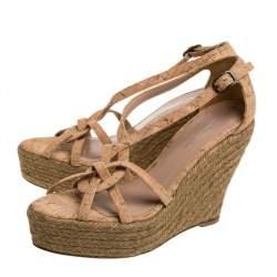 Oscar de la Renta Beige Cork Espadrille Platform Wedge Sandals Size 36