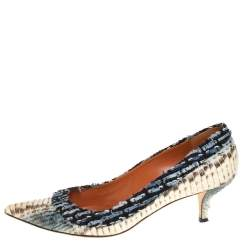 Oscar de la Renta Multicolor Python Embossed Leather And Fabric Pointed Toe Pumps Size 39.5