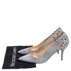 Oscar De La Renta Grey Suede Pointed Toe Cut Out Pumps Size 40