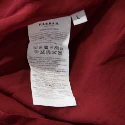 P.A.R.O.S.H. Burgundy Chiffon Sequins Sleeveless Shift Dress L