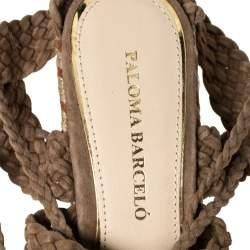Paloma Barceló Beige Woven Suede Ankle Wrap Espadrille Platform Wedge Sandals Size 38