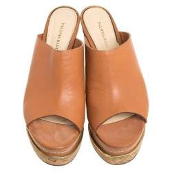 Paloma Barcelo Tan Leather Mule Platform Wedge Sandals Size 39