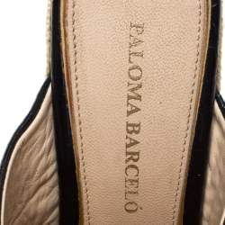 Paloma Barceló Black Croc Embossed Leather Espadrille Wedge Sandals Size 40