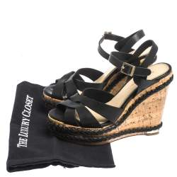 Paloma Barceló Black Strappy Leather Ankle Strap Platform Cork Wedge Sandals Size 37