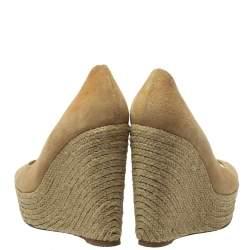 Paloma Barceló Beige Suede Espadrilles Peep Toe Wedge Pumps Size 38