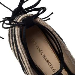 Paloma Barceló Black/Beige Woven Satin Cord Ankle Wrap Espadrille Platform Wedge Sandals Size 38