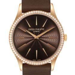 Patek Philippe Brown Diamonds 18K Rose Gold Calatrava 4897R Women's Wristwatch 33 MM