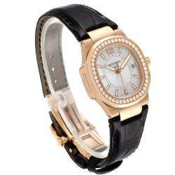 Patek Philippe Silver Diamond 18K Rose Gold Nautilus 7010 Women's Wristwatch 32 MM