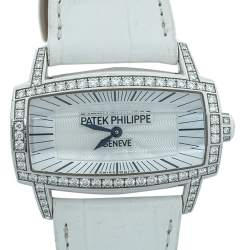 Patek Philippe Silver 18K White Gold Diamonds Gondolo Gemma 4981 Women's Wristwatch 37mm