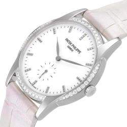 Patek Philippe White Diamonds 18k White Gold Calatrava 7122 Women's Wristwatch 33 MM