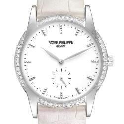 Patek Philippe White Diamonds 18k White Gold Calatrava 7122 Women's Wristwatch 33 MM