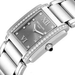 Patek Philippe Grey Diamonds Stainless Steel Twenty-4 4910 Women's Wristwatch 25 x 30 MM