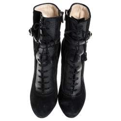 Paul Andrew Black Suede And Embossed Leather Lace Up Ankle Boots Size 38.5