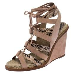 Paul Andrew Multicolor Suede And Python Leather Lace Up Wedge Sandals Size 40