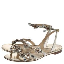 Paul Andrew Metallic Silver Leather Floral Embellished Flat Ankle Strap Sandals Size 40