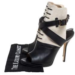 Paul Andrew Black Leather And Suede Criss Cross Open Toe Ankle Strap Booties Size 38