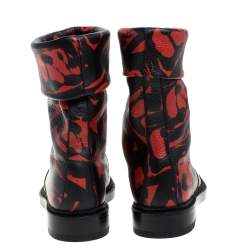 Paul Andrew Black/Red Printed Leather Rian Ankle Boots Size 37