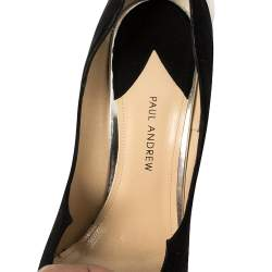 Paul Andrew Black Suede Chrysler Zenadia Pumps Size 38.5