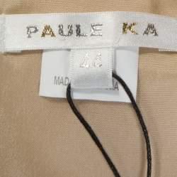 Paule Ka Beige Textured Cotton Sleeveless Sheath Dress L