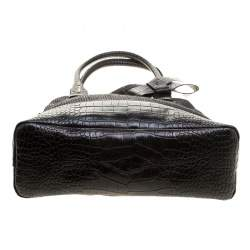 Paule Ka Black Croc Embossed Leather and Woven Straw Bow Satchel
