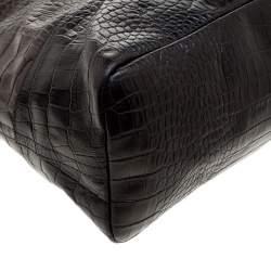 Paule Ka Brown/Black Croc Embossed Leather Bow Tote