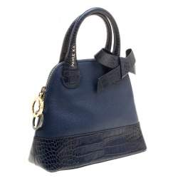 Paule Ka Blue Leather and Croc Embossed Leather Bow Tote