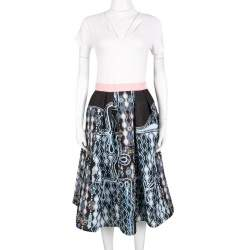 Peter Pilotto Black 3D Waffle Texture Printed Circle Skirt M