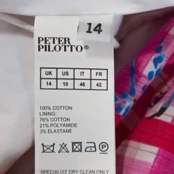 Peter Pilotto Pink Printed Cotton Poplin Off Shoulder Top L