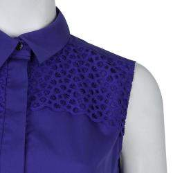 Peter Pilotto Blue Broderie Anglaise Sleeveless Shirt M