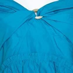 Peter Pilotto Blue Cotton Poplin Off Shoulder Top M