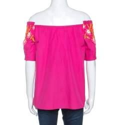 Peter Pilotto Pink Cotton Lace Detail Panelled Off-Shoulder Top L