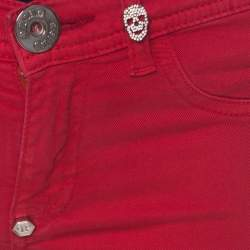 Philipp Plein Devil's Food Red Stretch Cotton Jegging XS