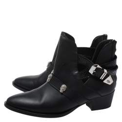 Philipp Plein Black Leather Skull Detail Ankle Boots Size 37
