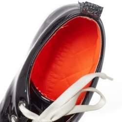 Philipp Plein Black Patent Leather Skull Glittered Cap Toe Low Top Sneakers Size 40.5