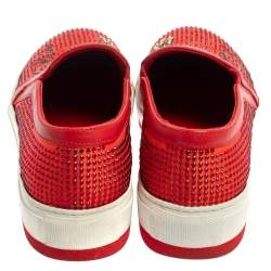 Philipp Plein Red Satin And Leather Trims Crystal Embellished Slip On Sneakers Size 39
